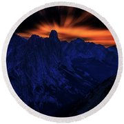 Round Beach Towel featuring the photograph Mount Doom by John Poon