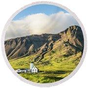 Mount Esjan Is Iceland Round Beach Towel