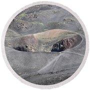 Mount Etna Caldera Round Beach Towel