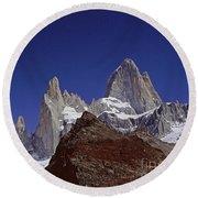 Mount Fitzroy Patagonia 2 Round Beach Towel