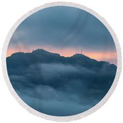 Mount Franklin Stormy Winter Sunset Pano Round Beach Towel