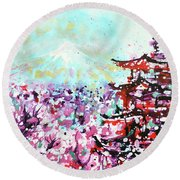 Round Beach Towel featuring the painting Mount Fuji And The Chureito Pagoda In Spring by Zaira Dzhaubaeva
