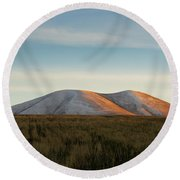 Mount Gutanasar In Front Of Wheat Field At Sunset, Armenia Round Beach Towel