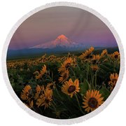 Mount Hood And Balsam Root Blooming In Spring Round Beach Towel
