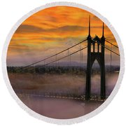 Mount Hood By St Johns Bridge During Sunrise Round Beach Towel