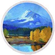 Round Beach Towel featuring the painting Mount Hood by Nancy Merkle