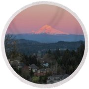 Mount Hood Over Happy Valley Oregon Round Beach Towel