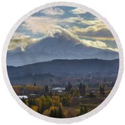 Mount Hood Over Hood River Valley In Fall Round Beach Towel