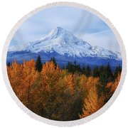 Mount Hood With Fall Colors  Round Beach Towel by Lynn Hopwood