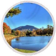 Mount Jefferson Reflection Round Beach Towel by Dale R Carlson