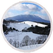 Mount Jefferson Winter Round Beach Towel by Dale R Carlson
