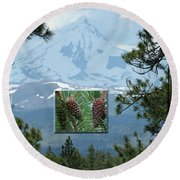 Mount Jefferson With Pines Round Beach Towel