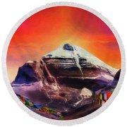 Mount Kailash - The Pillar Of The World Round Beach Towel