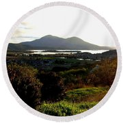 Round Beach Towel featuring the photograph Mount Konocti by Will Borden