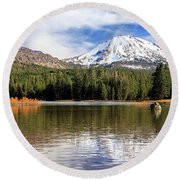 Round Beach Towel featuring the photograph Mount Lassen Autumn Panorama by James Eddy