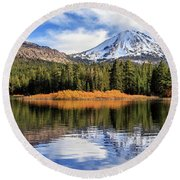 Mount Lassen Reflections Panorama Round Beach Towel by James Eddy