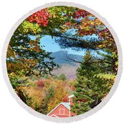 Round Beach Towel featuring the photograph Mount Mansfield Seen Through Fall Foliage by Jeff Folger
