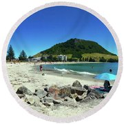 Mount Maunganui Beach 1 - Tauranga New Zealand Round Beach Towel by Selena Boron
