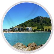 Mount Maunganui Beach 10 - Tauranga New Zealand Round Beach Towel