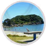 Mount Maunganui Beach 4 - Tauranga New Zealand Round Beach Towel