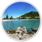 Mount Maunganui Beach 8 - Tauranga New Zealand Round Beach Towel