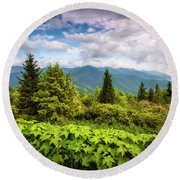Mount Mitchell Asheville Nc Blue Ridge Parkway Mountains Landscape Round Beach Towel