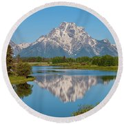 Mount Moran On Snake River Landscape Round Beach Towel