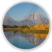 Round Beach Towel featuring the photograph Mount Moran by Steve Stuller