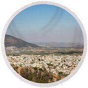 Round Beach Towel featuring the photograph Mount Of Ascension by Mae Wertz