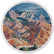 Mount Olympus In Autumn  Round Beach Towel
