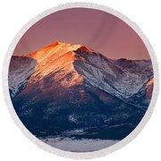 Mount Princeton Moonset At Sunrise Round Beach Towel