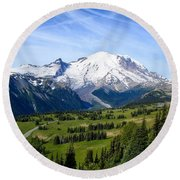 Round Beach Towel featuring the photograph Mount Rainier At Sunrise by Lynn Hopwood