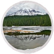 Mount Rainier From Reflection Lakes Round Beach Towel