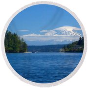 Mount Rainier Lenticular Round Beach Towel