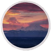 Mount Rainier Morning Fire Round Beach Towel by Mike Reid
