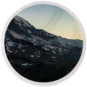 Mount Rainier Sunset Light Panorama Round Beach Towel by Mike Reid