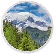 Round Beach Towel featuring the photograph Mount Rainier View by Stephen Stookey