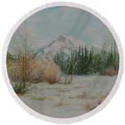 Mount Rundle In Winter Round Beach Towel
