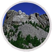 Round Beach Towel featuring the photograph Mount Rushmore 001 by George Bostian