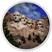 Mount Rushmore 008 Round Beach Towel by George Bostian