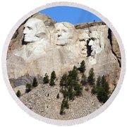 Mount Rushmore I Round Beach Towel