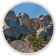 Mount Rushmore South Dakota Round Beach Towel by Brenda Jacobs