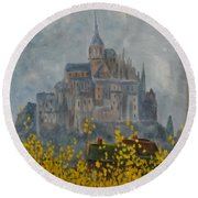 Mount Saint Michael Round Beach Towel