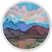 Round Beach Towel featuring the painting Mount San Gorgonio by Diane McClary