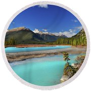 Mount Saskatchewan Round Beach Towel