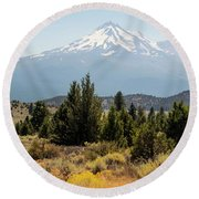 Round Beach Towel featuring the photograph Mount Shasta And Shastina by Frank Wilson