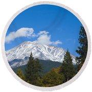 Mount Shasta California Round Beach Towel