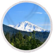 Mount Shasta Round Beach Towel