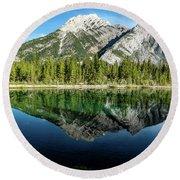 Mount Skogan Reflected In Mount Lorette Ponds, Bow Valley Provin Round Beach Towel