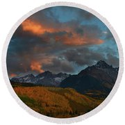 Round Beach Towel featuring the photograph Mount Sneffels Sunset During Autumn In Colorado by Jetson Nguyen